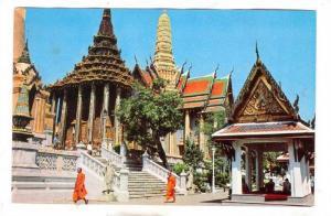Inside Wat Phra Keo, Thai Priests, Entrance, Bangkok, Thailand, 40-60s