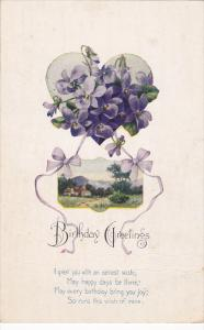 Birthday Greetings Poem, Violets, Purple Bows, Country Scene, 10-20s