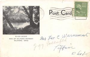 Men of Milford Ohio Jesuits Retreat on the Little Miami River 1948 B&W