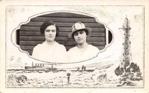 Real Photo Postcard~Lady in Summer Hat~Lighthouse Steamship Border~1914 RPPC