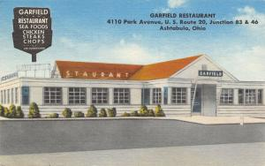 Ashtabula Ohio~Garfield Restaurant~Park Avenue Route 20~1961 Linen Postcard