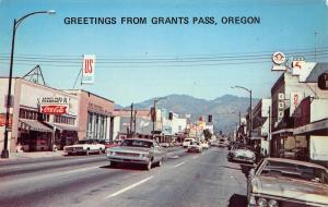 Grants Pass Oregon~Downtown Street~Music Shop~Drug Store~US Bank~1960s Cars PC
