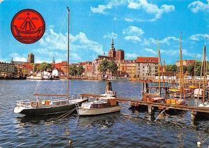 Stralsund Blick auf den Hafen Schiff Harbour Boats Panorama