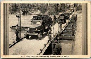 1943 WWII Military Postcard U.S. Army Engineers Constructing Pontoon Bridge