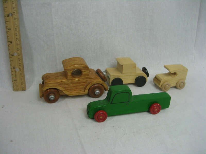 Set of Four (4) Wood Cars and Trucks Hand Made Toys