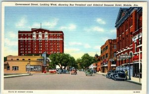 Mobile, Alabama Postcard Government Street Downtown Scene Curteich Linen c1940s