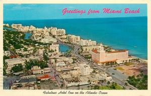 Hotel Row 1960's Miami Beach Florida Aerial View Girl Scouts Stamp 4c Postcard