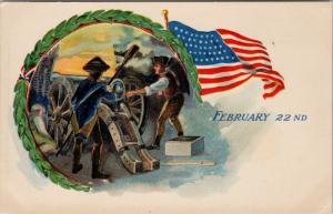 February 22nd Washington's Birthday Patriotic Soldier Flag c1911 Postcard E41