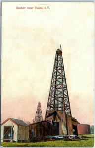 Vintage INDIAN TERRITORY Oklahoma Postcard Gusher Near Tulsa, I.T. Oil Well 1907