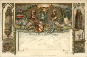 Gruss Aus Nurnberg Albrecht Durer P. Vischer c1910 Embossed Postcard