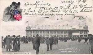 Asbury Ave. Casino & Boardwalk, Asbury Park, N.J., Early Postcard, Used in 1904