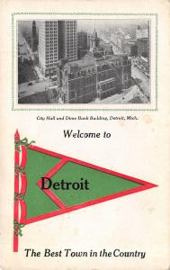 Best Town in the Country is Detroit Michigan~Dime Bank~1912 Pennant Postcard