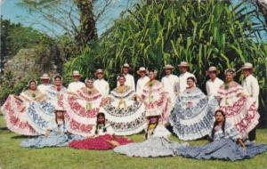 Panama Folkore Entertainers Wearing Polleras and Montunos Typical Costume