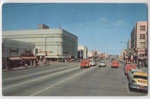 1950's Bakersfield California Street View Old Cars Kern County Vintage Postcard