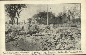 Fryeburg ME Oxford Hotel Fire Ruins 1906 Postcard #1