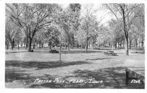 Perry Iowa~Pattee Park~Picnic Tables~Ready For Our Move Here to Perry~1950 RPPC
