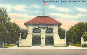 Linen Card of Anthracite Fire Company Mt. Carmel PA