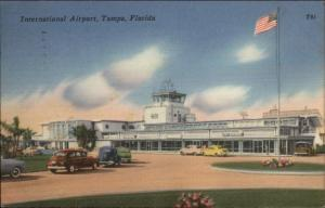 Tampa FL Airport Old Cars American Flag Linen Postcard