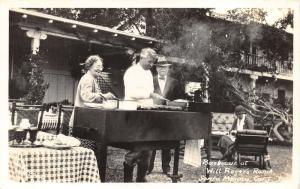 Santa Monica California~Will Roger's Ranch~Backyard BBQ~Baby Carriage~1940s RPPC