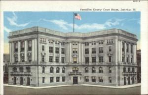 Danville IL Court House Misprint Error Border c1930 Postcard