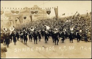 Kansas City, Missouri, Shrine Parade, Freemasonry Shriners (1924) RPPC Masonic