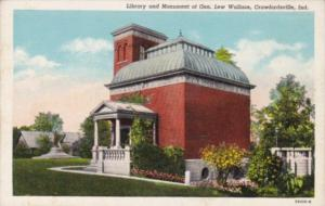 Library and Monument Of General Lew Wallace Crawfordsville Indiana Curteich