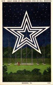 Virginia Roanoke Mill Mountain Night Scene Of The Electric Star