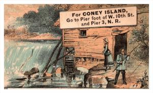 Trade card  NY  & brighton Beach railway , Coney Island, Couple fis...