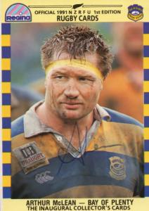 Arthur McLean Bay Of Plenty Team 1991 New Zealand Rugby Hand Signed Card Photo