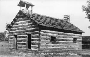 New Philadelphia Ohio~Log Cabin School House @ Schoenbrunn Village~RPPC 1940s