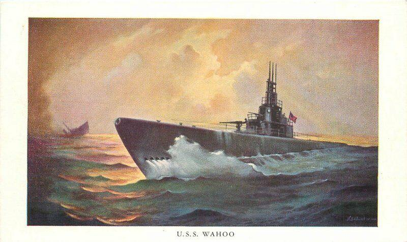 1940s WW2 Navy Military USS Wahoo Submarine Postcard 123