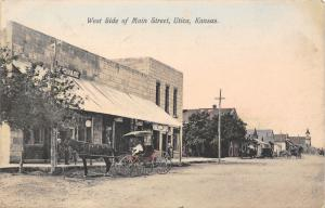 Utica Kansas~Main Stree West Side~Horse Buggy at Hardware Store~1909 Handcolored