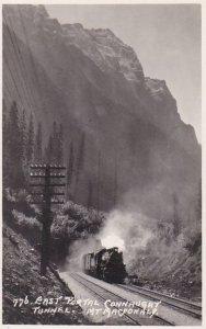 RP, CONNAUGHT TUNNEL, B.C., Canada, 1920-1940s; Train On Railroad Tracks