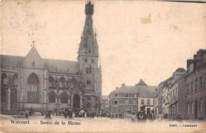 Walcourt Belgium birds eye view local church antique pc Z16034