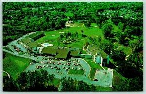 Asheville NC~Birdseye Hilton Hotel Resort~Golf Course~Sand Traps~1970s Postcard