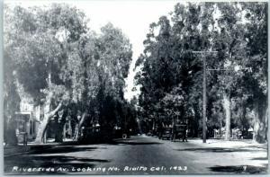 Rialto, California RPPC Real Photo Postcard Riverside Ave. Looking North 1950s