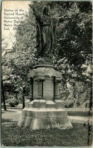 1921 NOTRE DAME UNIVERSITY Indiana Postcard Statue of the Sacred Heart Jesus