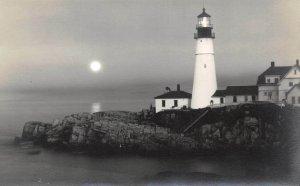 LPS23 Portland Maine Head Light Lighthouse Postcard RPPC