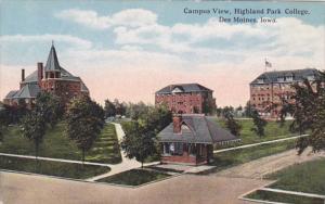 Iowa Des Moines Campus View Highland Park College 1914 Curteich