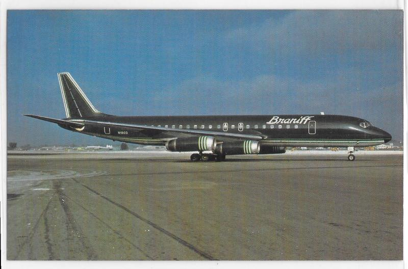 Braniff International Airlines Dk Blue Teal White Livery DC-8-62 Ground Postcard