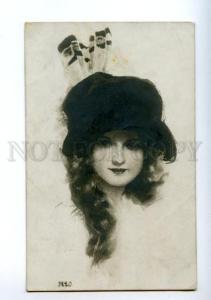141049 Belle in HAT by Harrison FISHER vintage PHOTO Russia PC