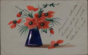 Handmade Hand Painted Flowers in Vase c1910 Psotcard