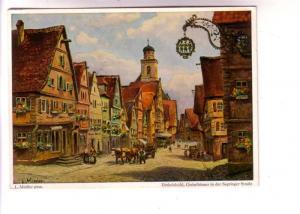 Signed, L Mossler, Dinkelsbuhl, Giebelhauser in der Segringer Strabe, Germany