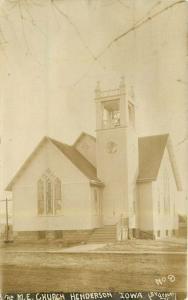 Henderson Iowa 1908 Mills County ME Church RPPC Photo Postcard 5355