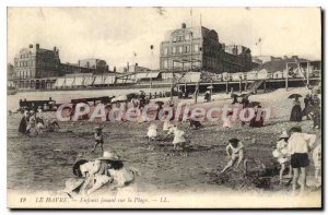 Old Postcard Le Havre Children Playing On The Beach