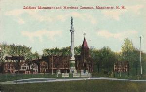 New Hampshire Manchester Soldiers Monument And Merrimac Common