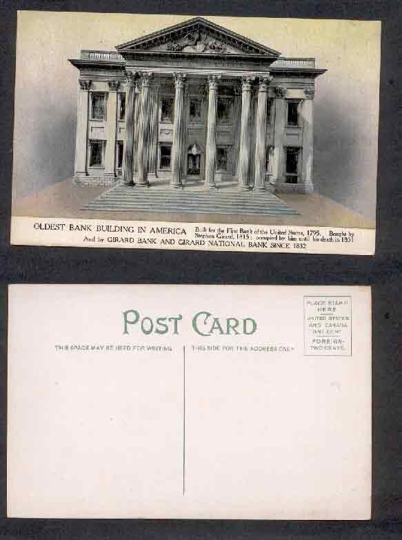 USA OLDEST BANK BUILDING IN AMERICA POSTCARD 1832 / HipPostcard