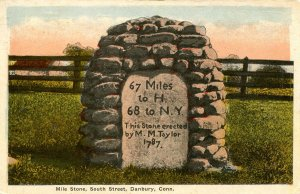 CT - Danbury. Old Mile Stone on South Street