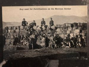 Mint Mexico Revolution RPPC Postcard US Army Hay Used as Fortification Soldiers
