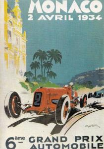 Monaco Motor Racing Grand Prix 1934 Car Rally Advertising Postcard